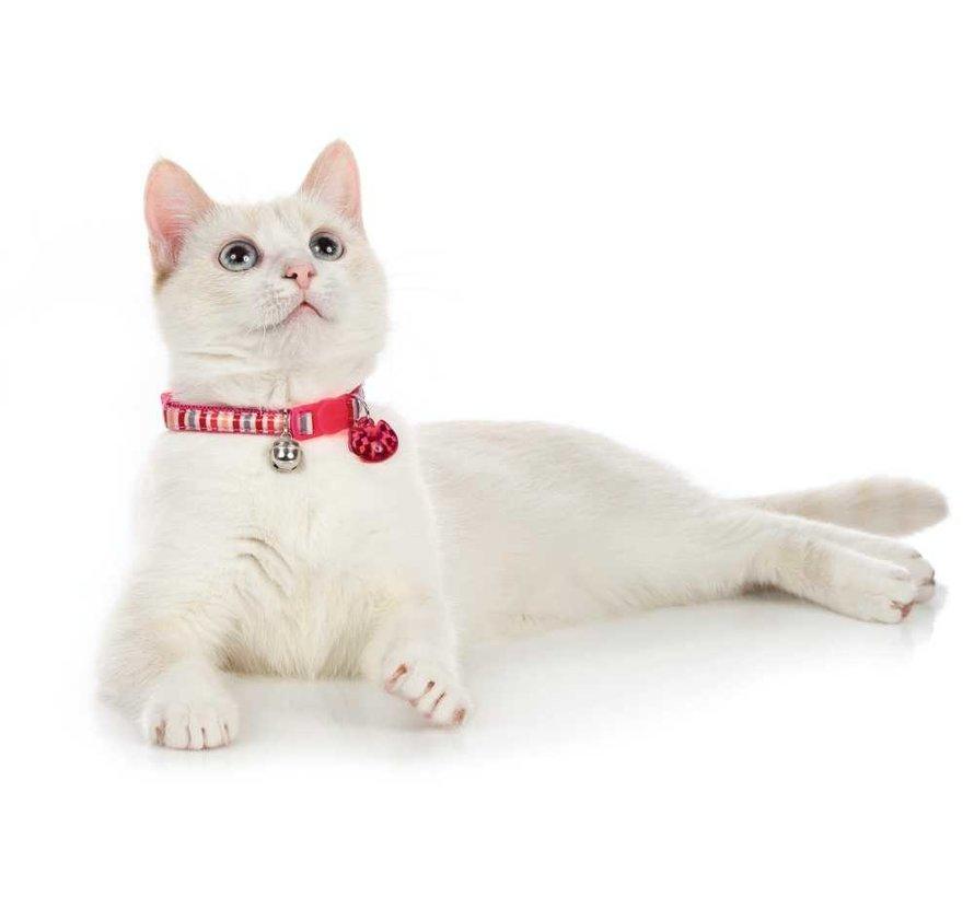 Kattenhalsband Glossy Stripes Roze