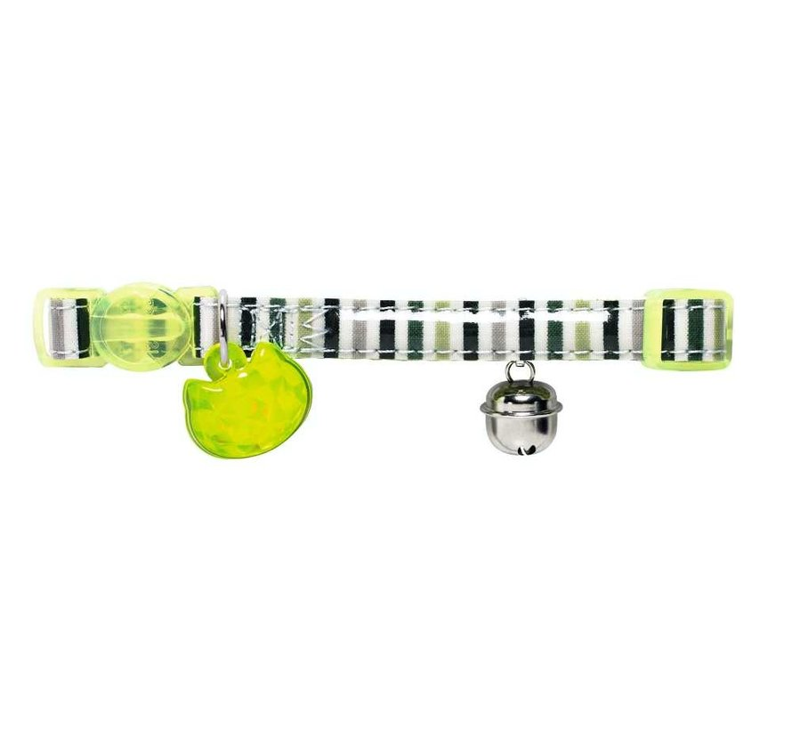 Kattenhalsband Glossy Stripes Groen