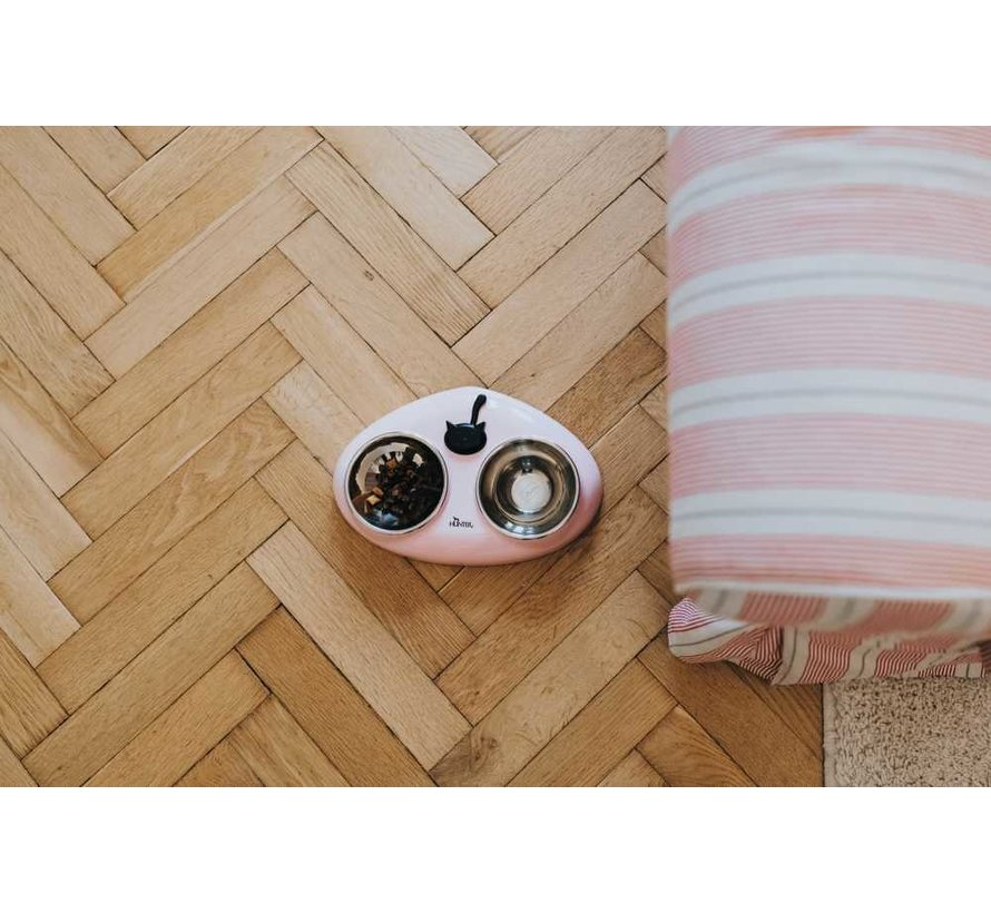 Double Bowl Cat Moulins Pink