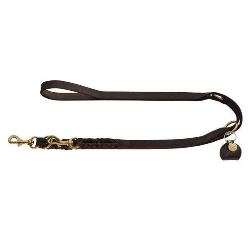 Hunter Adjustable Dog Leash Sansibar Solid Brown