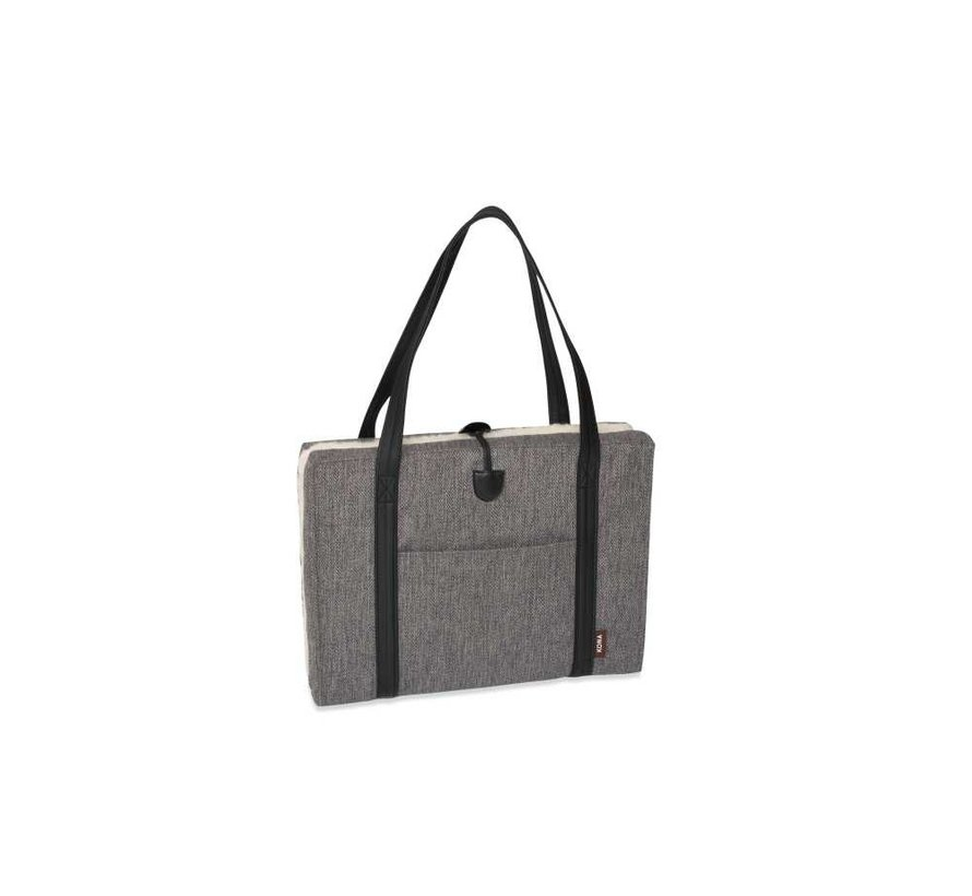 Portable Dog Cushion Grey Herringbone