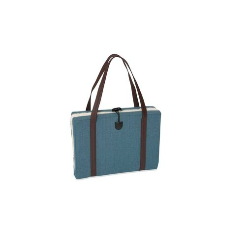 KONA CAVE Portable Dog Cushion Turquoise Herringbone