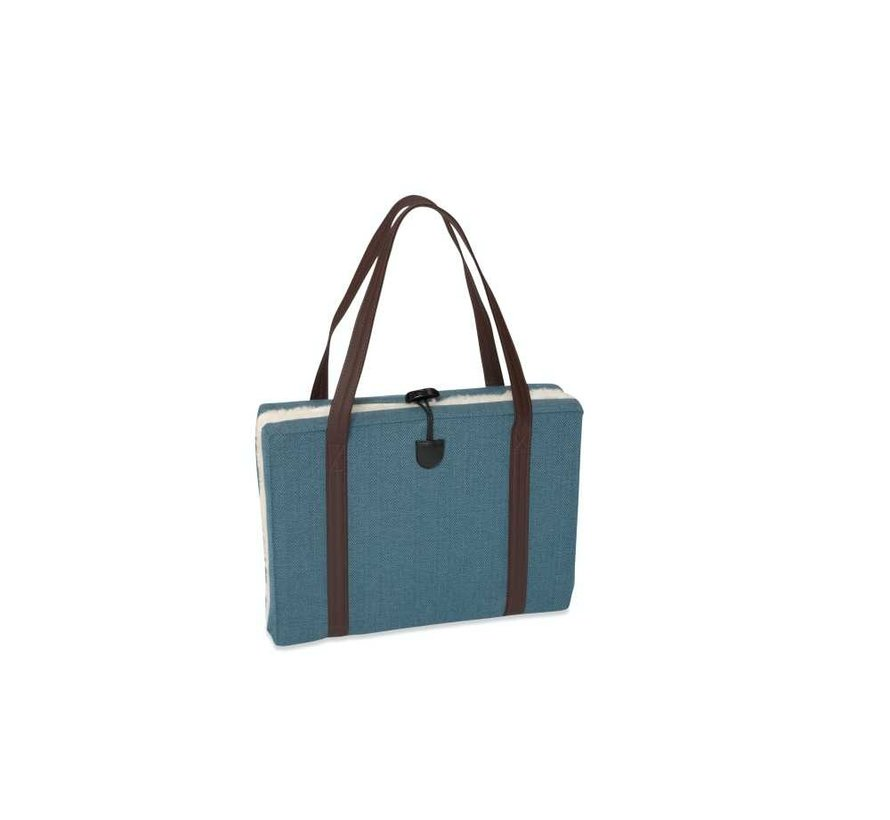 Portable Dog Cushion Turquoise Herringbone