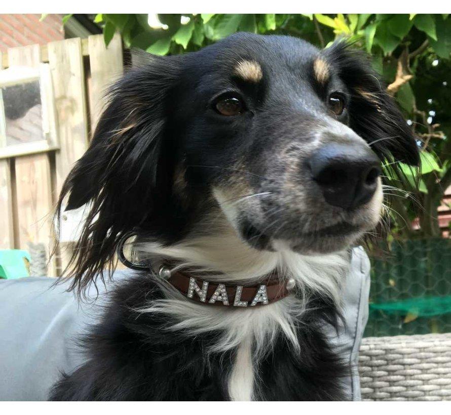 Dog collar with name Medium Brown