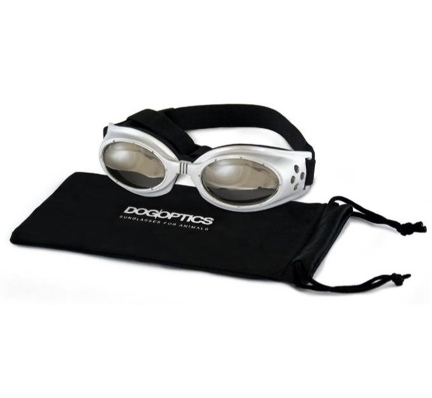 Dog Sunglasses Biker Silver frame/Mirror lens