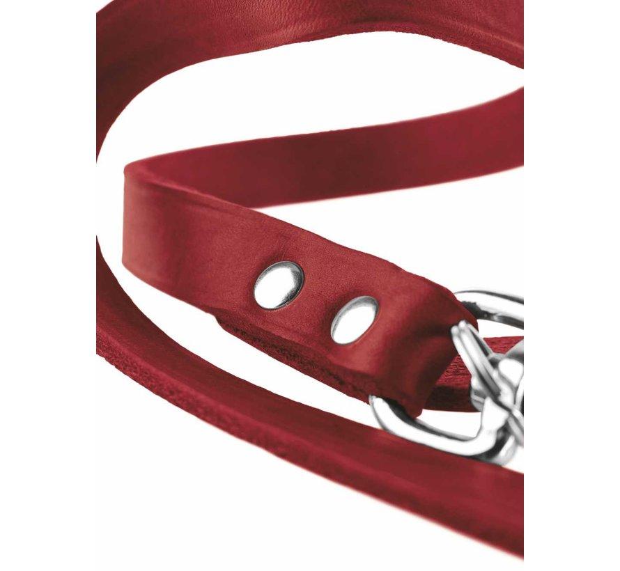 Adjustable Dog Leash Red Leather