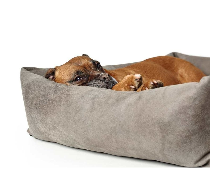 Dog Bed Faux Leather Bologna Stone