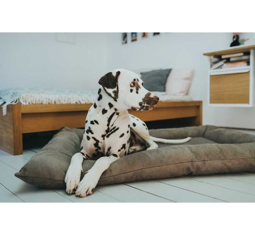 Dog Cushion Faux Leather Bologna Stone