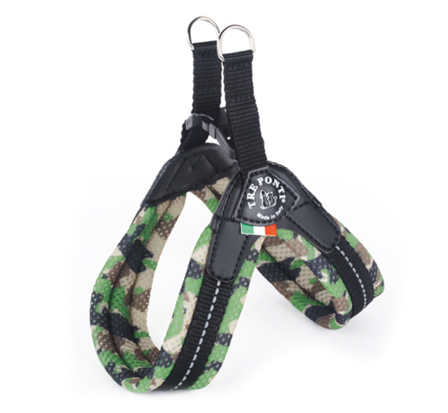 Dog Harness Easy Fit Mesh Fluo Camouflage Green
