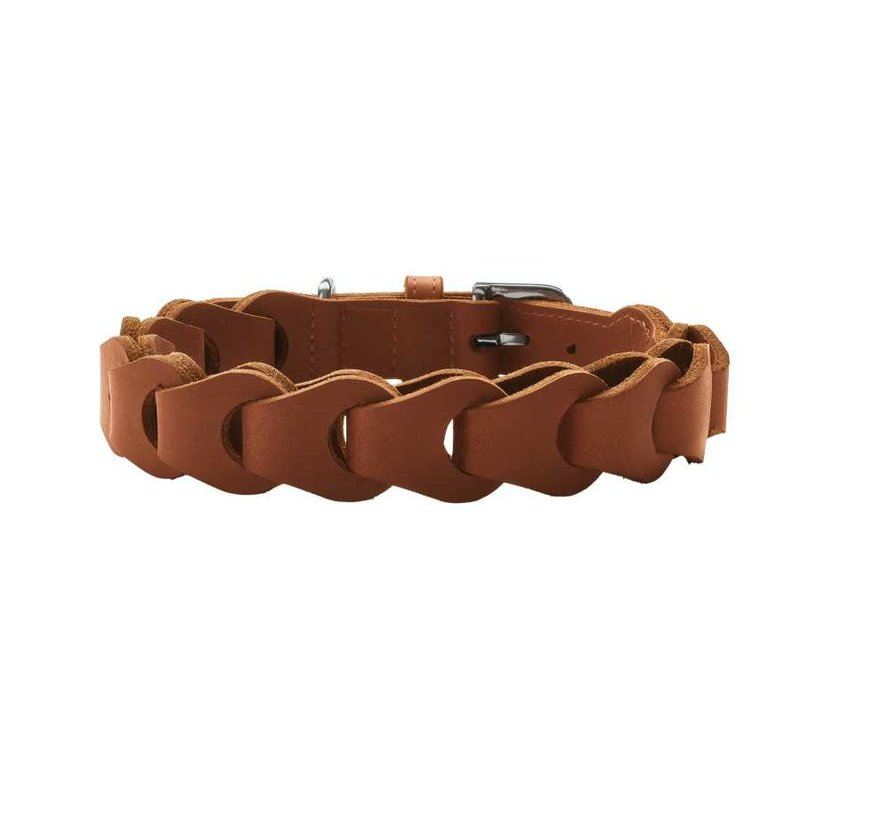 Hondenhalsband Solid Education Chain Cognac