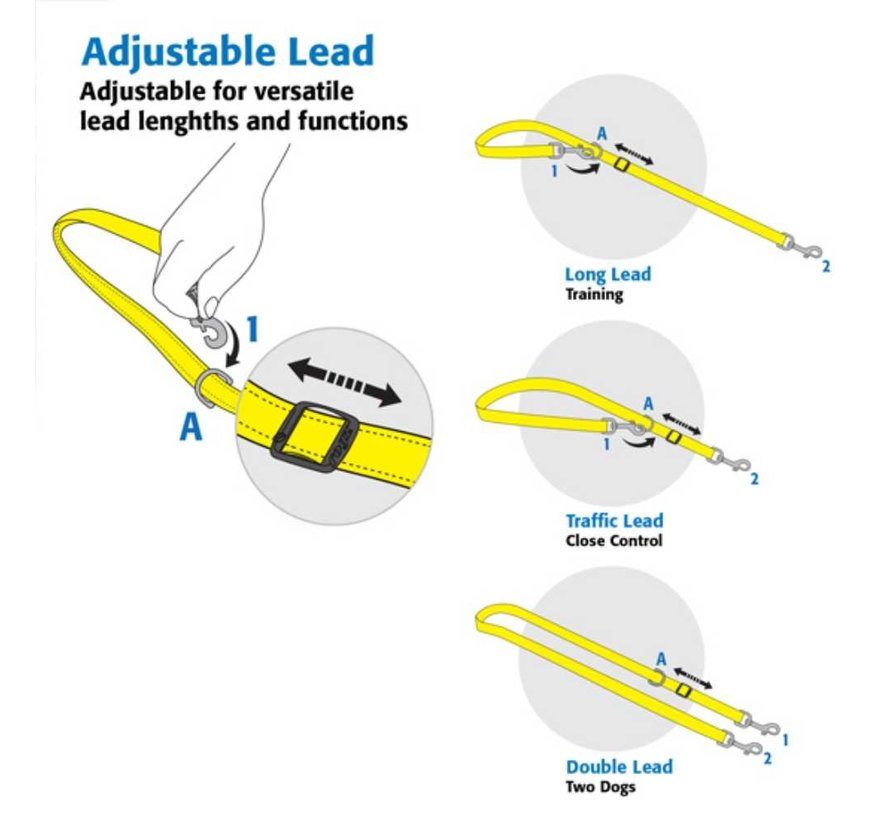 Hondenriem Utility Control Multi Lead Rood