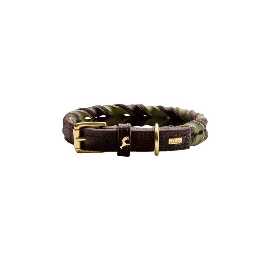 Dog Collar Solid Education Duo Brown