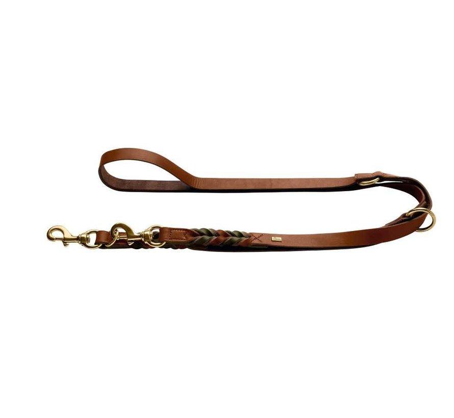 Adjustable Dog Leash Solid Education Duo Cognac