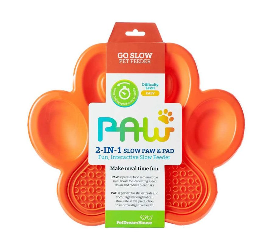 Paw 2 in 1 Slow Feeder Orange