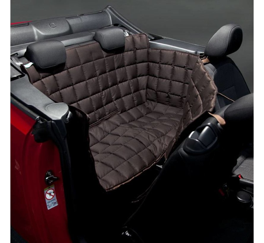 Dog blanket for the back seat for two-door car Brown