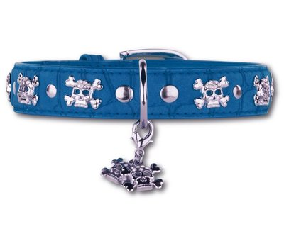 Doxtasy Dog Collar Skull and Bones Blue