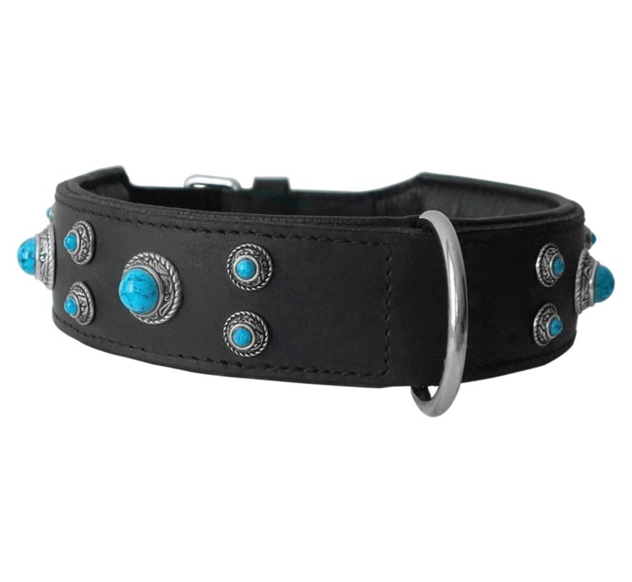 Dog Collar Antique Turquoise Extra Wide