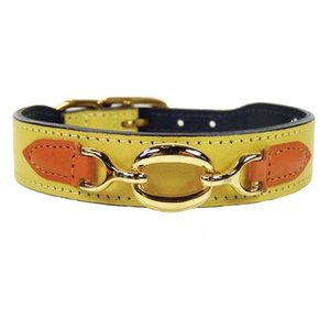 Hartman and Rose Dog Collar Hartman plated fittings Canary Yellow