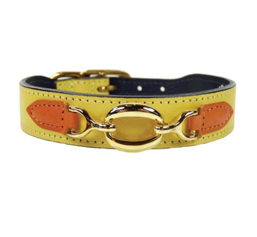 Dog Collar Hartman plated fittings Canary Yellow