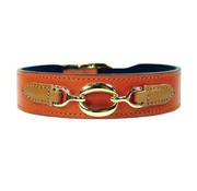 Hartman and Rose Dog Collar Hartman plated fittings Tangerine