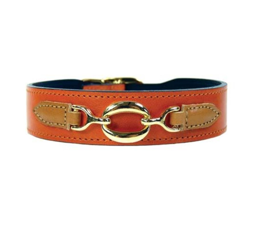 Dog Collar Hartman plated fittings Tangerine