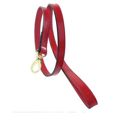 Hartman and Rose Dog Leash Hartman plated fittings Ferrari Red