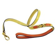 Hartman and Rose Dog Leash Hartman plated fittings Canary Yellow