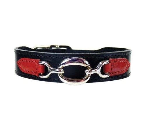 Hartman and Rose Dog Collar Hartman nickel fittings Black & Ferrari Red
