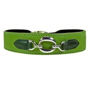 Hartman and Rose Dog Collar Hartman nickel fittings Lime Green