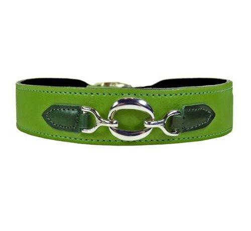 Hartman and Rose Dog Collar Hartman nickel fittings Lime Green