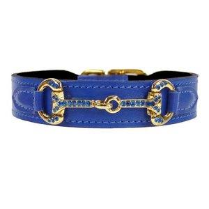 Hartman and Rose Dog Collar Horse & Hound Cobalt Blue