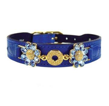 Hartman and Rose Dog Collar Daisy Cobalt Blue