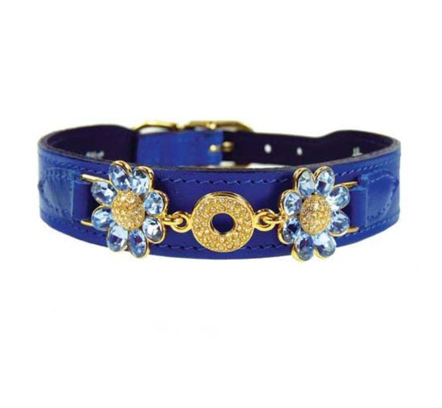 Dog Collar Daisy Cobalt Blue