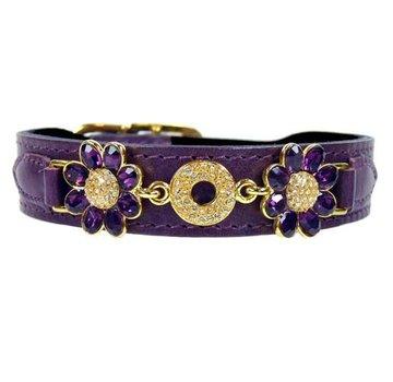 Hartman and Rose Dog Collar Daisy Papal Purple