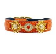 Hartman and Rose Dog Collar Daisy Tangerine