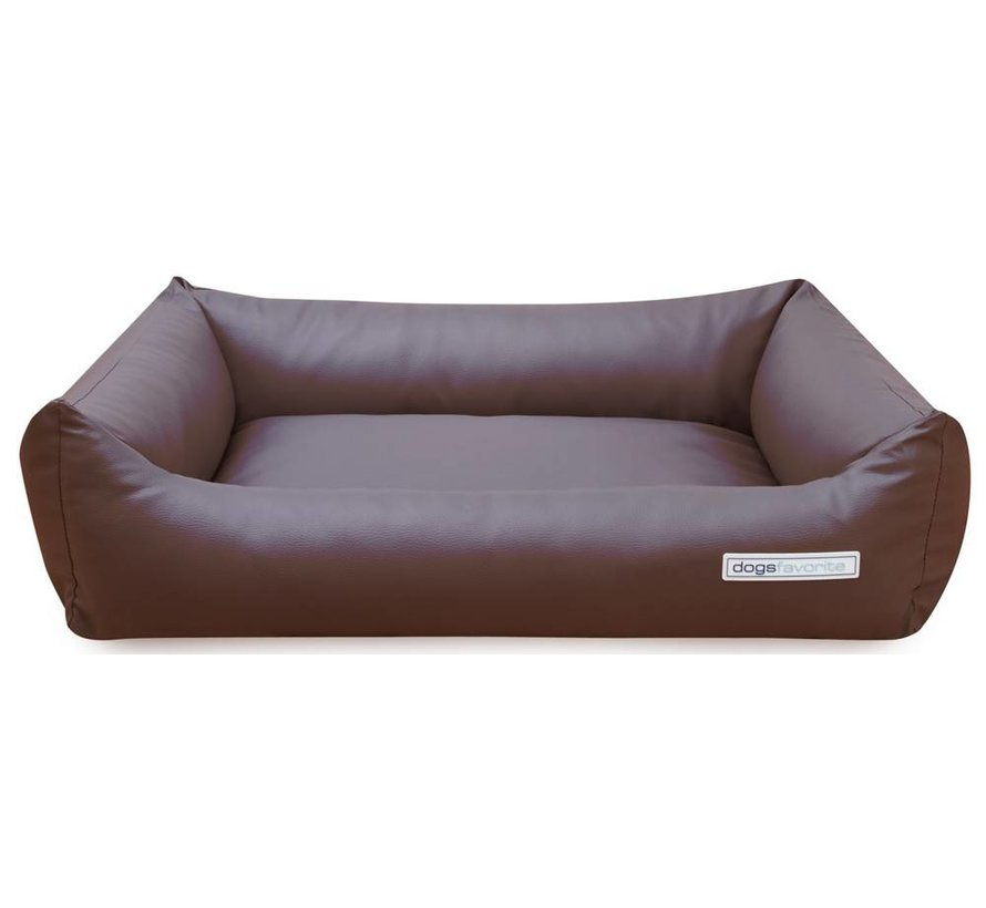 Dog Bed Leatherette Brown