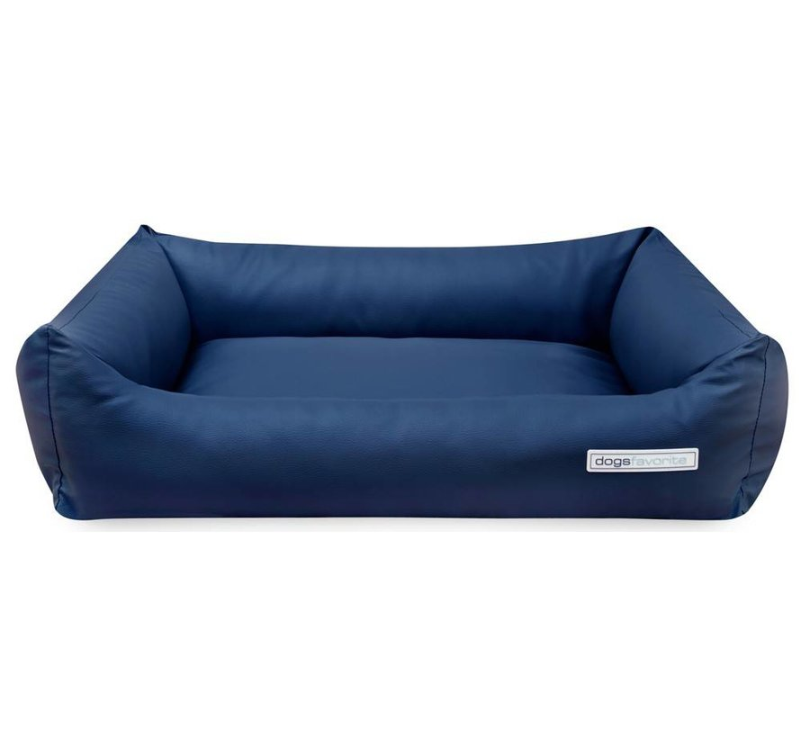 Dog Bed Leatherette Navy Blue