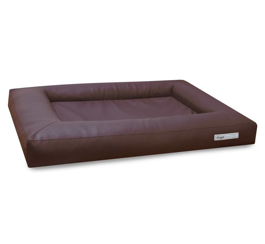 Dog Bed Cube Leatherette Brown