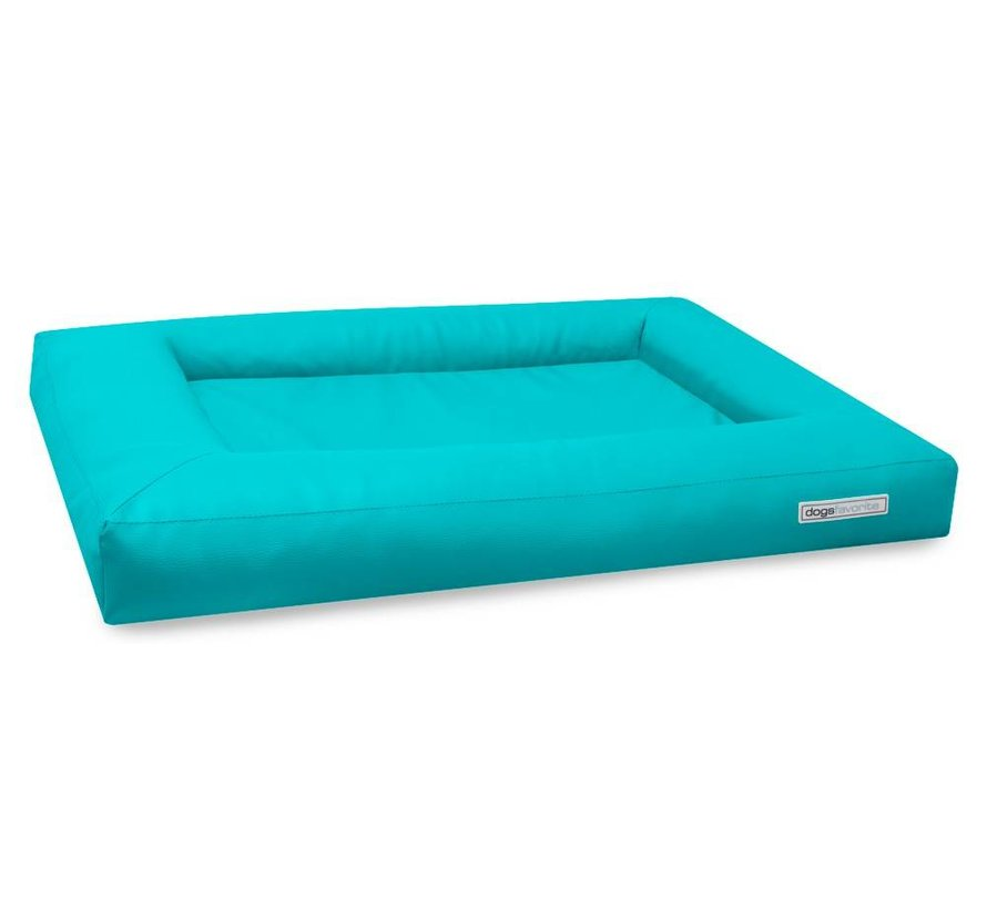 Dog Bed Cube Leatherette Turquoise