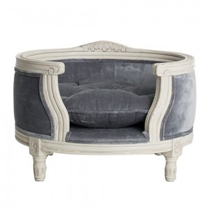 Lord Lou Dog Bed George Silver Grey Velvet
