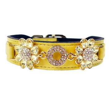 Hartman and Rose Dog Collar Daisy Canary Yellow with Jonquil cristals