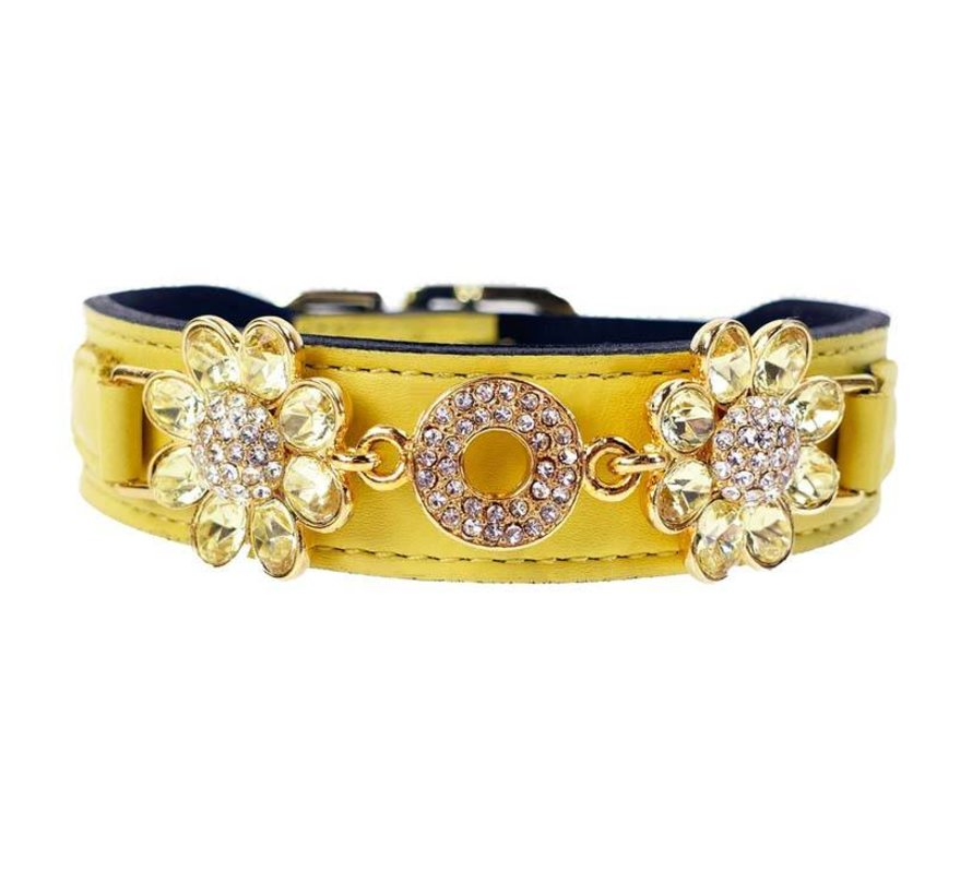 Dog Collar Daisy Canary Yellow with Jonquil cristals