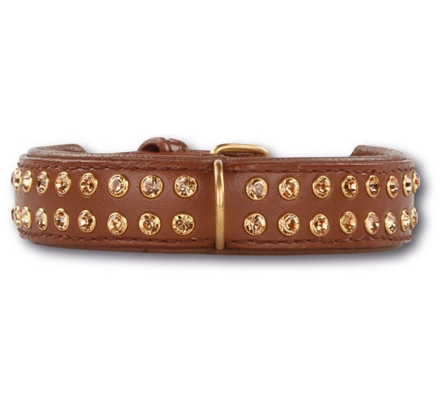 Dog Collar Swarovski Extreme Brown 30mm