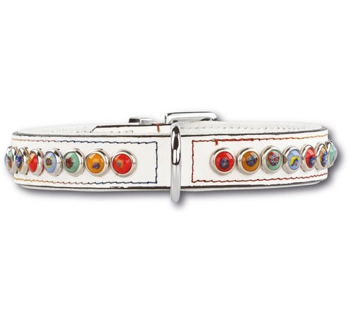 Doxtasy Dog collar Silly Stones White 25mm