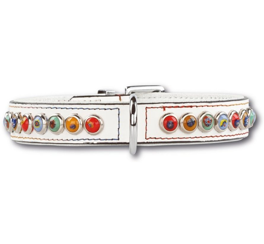 Dog collar Silly Stones White 25mm