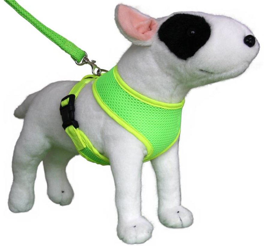 Round Loop Dog Harness Mesh Fluo Green