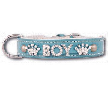 Doxtasy Dog collar with name Medium BabyBlue