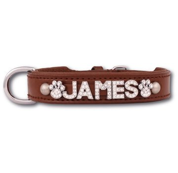 Doxtasy Dog collar with name Medium Brown