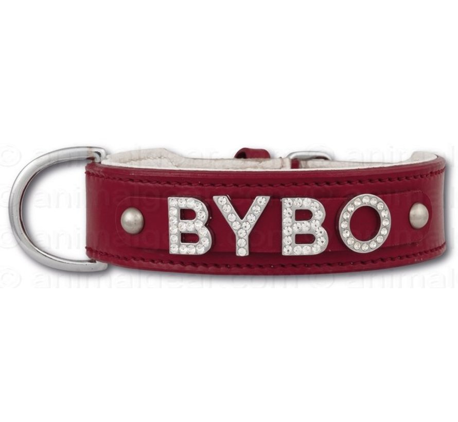 Dog collar with name Medium Red