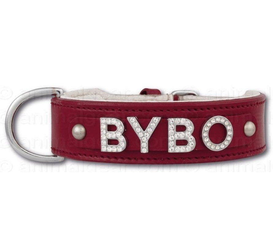 Hondenhalsband met naam Medium Red